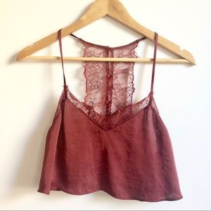 FREE PEOPLE silk cropped top